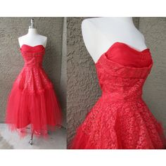 50s Red Tulle Strapless Prom Dress Cupcake Full Skirt Rockabilly Party... (€140) ❤ liked on Polyvore featuring dresses, ruffle prom dress, red strapless dress, tulle prom dresses, red strapless cocktail dress and strapless prom dresses