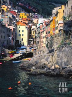 Harbor View of Hillside Town of Riomaggiore, Cinque Terre, Italy Photographic Print by Julie Eggers at Art.com