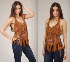 Vintage 70s Leather Fringe Halter Top with Beads by LotusvintageNY
