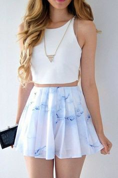 Two Piece Bateau Short Printed White Chiffon Homecoming Dress by Hiprom, $106.00 USD