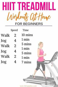 Several treadmill workouts for overweight beginners. Start your exercise program. - Several treadmill workouts for overweight beginners. Start your exercise program with manageable wo - Hiit Treadmill Beginner, Hiit Workouts For Beginners, Hiit Workout At Home, Treadmill Workouts, Quick Workouts, Workout Plans, Treadmill Walking Workout, Cardio Hiit, Hip Workout