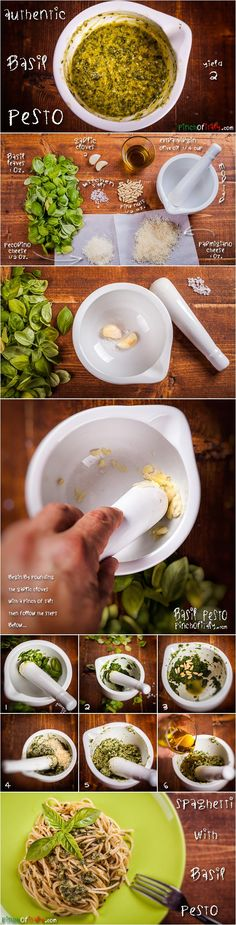 How to Make Authentic Basil Pesto With Pestle & Mortar the Grandmother's Way. Great For Trofie, Gnocchi and Spaghetti...