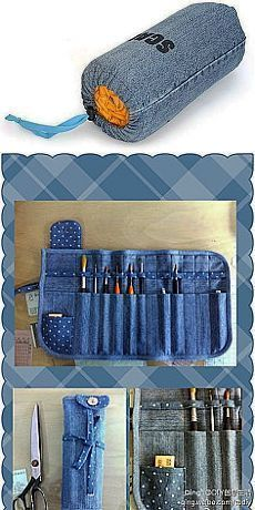 57 cool ideas for recycling your old jeans - Sewin .- 57 coole Ideen für das Recycling Ihrer alten Jeans – Sewing – 57 Cool Ideas For Recycling Your Old Jeans – Sewing – - Jean Crafts, Denim Crafts, Recycled Denim, Recycled Crafts, Sewing Hacks, Sewing Tutorials, Sewing Projects, Sewing Tips, Diy Projects
