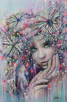 "Saatchi Online Artist: Lykke Steenbach Josephsen; Mixed Media 2013 Painting ""Butterfly Boheme"""