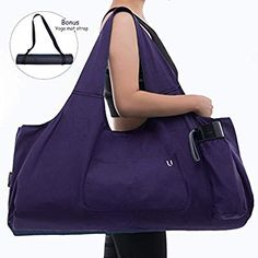 Uhavi Yoga Mat Bag Large Yoga Mat Tote Sling Carrier with 4 Pockets 2 VELCROS Fits Mats With Multi-Functional Storage Pockets Light And Durable(With Yoga Mat Carrying Strap) -- Read more at the image link. (This is an affiliate link) Videos Yoga, Sling Carrier, Yoga Towel, Yoga Mat Bag, Pocket Light, Yoga Accessories, Large Bags, Large Tote, Gym Bag