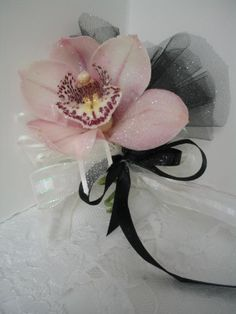 Pink Mini Cymbidium orchid corsage for MOB and MOG (sans black ribbon and tulle)