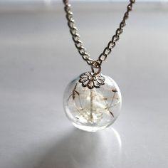 Dandelion Necklace Make Dandelion Seeds A Wish Glass Bead Orb Silver Necklace Botanical  Globe Beadwork