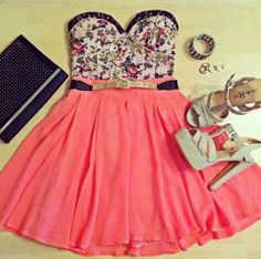 peach dress with high heels great comb.
