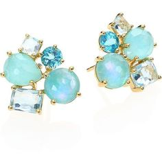 IPPOLITA Rock Candy Lapis Opal Doublet, Amazonite, Turquoise, Blue... ($2,960) ❤ liked on Polyvore featuring jewelry, earrings, accessories, blue, orecchini, apparel & accessories, blue earrings, blue opal earrings, 18k gold earrings and 18 karat gold earrings