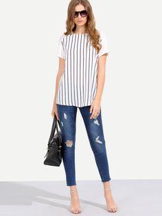 White+Short+Sleeve+Striped+T-shirt+11.00