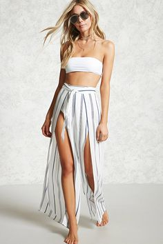 Striped split cover-up pants cruise outfits, vacation outfits, beach party outfits, Hipster Stil, Moda Hipster, Cruise Outfits, Vacation Outfits, Boho Outfits, Trendy Outfits, Fashion Outfits, Beach Party Outfits, Summer Outfits