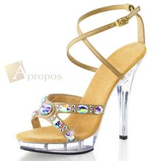 Sandale 10cm Damen Plateau High Heel Strass Beige Acryl Luxus Stiletto Apropos
