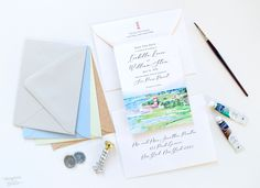 Draw inspiration from your venue with custom illustrated save the dates! 100% original art by Michelle Mospens. #weddings #weddingideas #weddinginvites #weddinginspiration #weddinginvitations #beachwedding #destinationwedding  | Mospens Studio - Unique Save The Dates