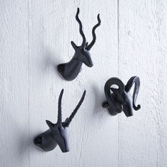 Happy hooks. Available as a set of three, our Horned Animal Hooks feature your favorite safari critters.