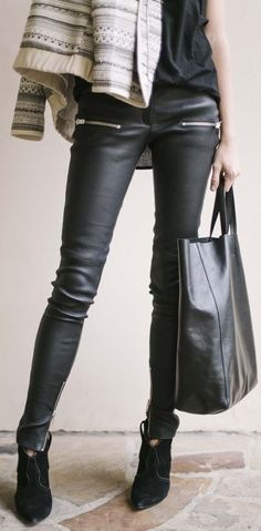 Anine Bing Smooth Leather Pants by Could I Have That ?