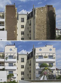 one of the buildings that got touched by this talented French street artist Patrick Commecy. Together with his team, he creates huge murals of hyper-realistic facades that bring blank and boring city walls to life.