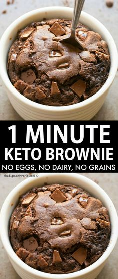 1 Minute Keto Brownie in a mug recipe made with easy, low carb ingredients! No eggs, no dairy and no grains, but left with a fluffy and moist brownie mug cake! Vegan, Paleo, Gluten Free and Dairy Free. #mugbrownie #ketobrownie #ketomugcake Dairy Free Keto Recipes, Healthy Low Carb Recipes, Low Carb Desserts, Best Low Carb Meals, Gluten Free Deserts Easy, Gluten Dairy Free, Easy Gluten Free Meals, Keto Meals Easy, Carb Free Meals