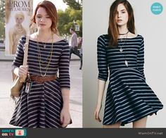 Karma's navy striped dress on Faking It.  Outfit Details: http://wornontv.net/52660/ #FakingIt