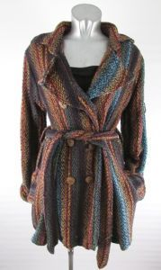 Hippy Coat~Bohemian Multicoloured Stripey Coat Warm Cotton Knit Winter Hippy Jacket~Fair Trade By Folio Gothic Hippy N870CT1