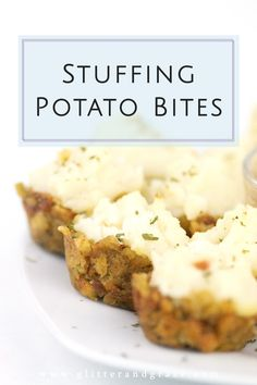 These stuffing potato bites are so simple to make and are the perfect starter for your Thanksgiving day. Four ingredients is all you will need. #thanksgivingfood #thanksgivingappetizers #appetizers #potatoes #stuffing #holidayfood #fingerfoods #bitesizefood #easyrecipes #thanksgiving