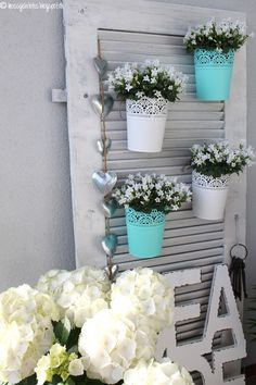 Balcony Balcony Summer Decorating Living Flowers Shutter Source by trxit Decoration Shabby, Flower Decorations, Balcony Garden, Garden Planters, New House Plans, Outdoor Living, Outdoor Decor, Garden Planning, Country Decor
