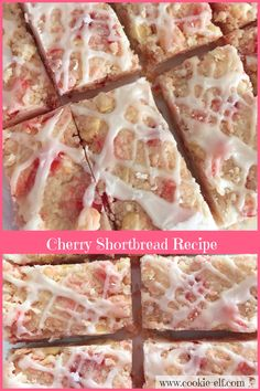 Description: Cherry Shortbread Recipe: ingredients, directions, and special baking tips from The Elf to make this easy shortbread variation. Cookie Desserts, Cookie Bars, No Bake Desserts, Cookie Recipes, Bar Cookies, Cherry Bread, Cherry Bars, Shortbread Recipes, Shortbread Bars