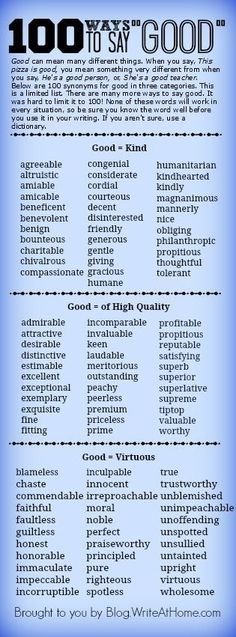 A list of words to use instead of good