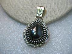 "Sterling Silver Hematite Southwestern/Navajo Pendant, Teardrop with Swig Bale, Stamped Design 2"" plus"