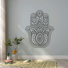 Hamsa Hand Wall Decal- Yoga Wall Decal- Namaste Decal Stickers Indian Bohemian…
