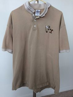 Warner Bros Studio Store Mens Brown Tan Cotton Polo Wile E Coyote XL Shirt #WarnerBrosStudioStore #PoloRugby #wileecoyote #preowned #mens #menswear #mensfashion #shirt #style #fashion #ebay #freeshipping #casualshirt #poloshirt