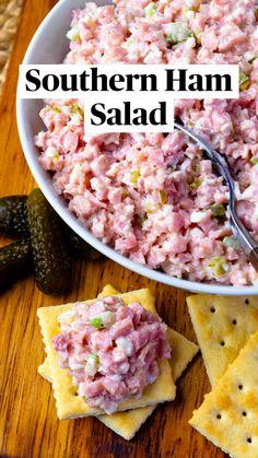 Ham Salad Recipes, Pork Recipes, Appetizer Recipes, Cooking Recipes, Healthy Recipes, Appetizers, Meat Salad, Soup And Salad, Arroz Con Leche