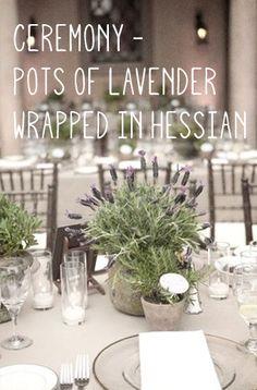 Ceremony lavender pots in hessian