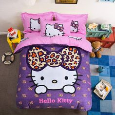 Cotton Bedding Sets Cartoon Hello Kitty 4pcs Bed Set Duvet Cover Bed Sheet Pillowcase Soft and Comfortable king queen size //Price: $56.86 & FREE Shipping // #hashtag4