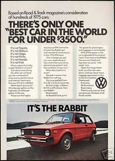 VW Volkswagen Rabbit Vintage Photo Print Car (1976) I remember jumping bull holes in a car like this !! Memories