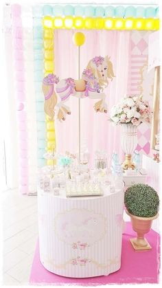 It's ushering in this gorgeous Pastel Carousel Birthday Party at Kara's Party Ideas Carousel Birthday Parties, Boys 1st Birthday Party Ideas, Carousel Party, Circus Birthday, Birthday Diy, Circus Carnival Party, Princess Party, Diy Party, First Birthdays