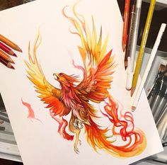 Want to discover art related to phoenix? Check out inspiring examples of phoenix artwork on DeviantArt, and get inspired by our community of talented artists. Neue Tattoos, Body Art Tattoos, Tribal Tattoos, Small Tattoos, Phoenix Drawing, Phoenix Art, Phoenix Painting, Rise Of The Phoenix, Phoenix Wings