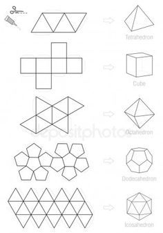 Platonic Solids Craft Pattern Template Stock Vector - Illustration of handicraft, dimensional: 70885169 Concrete Crafts, Concrete Art, Diy Origami, Origami Geometric Shapes, Geometric Designs, Geometric Art, Diy Para A Casa, Diy Paper, Paper Crafts