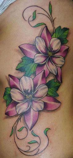 Vine Flower Tattoo On Rib