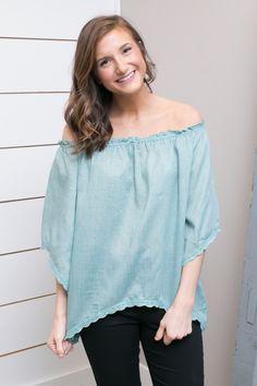 Sage Top W/ Cotton Crochet Hem