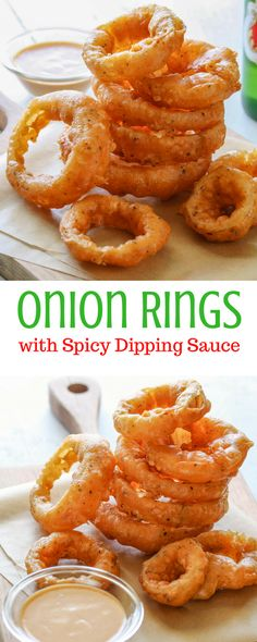 Onion Rings with Spicy Dipping Sauce - a great addition to your game day menu! www.savingdessert.com