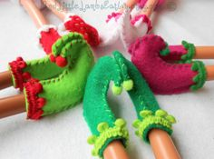 Lalaloopsy Clothes Christmas Elf Shoes by AndLittleLambsEatIvy, $5.00