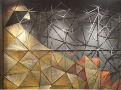 Thread Mural: from concept sketch to study models and final artform , thread mural done by great efforts n fun process. Partition Design, Wall Partition, Thread Art, Creative Walls, Stage Design, Wall Treatments, String Art, Restaurant Design, Wall Murals