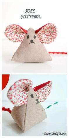 fabric crafts for bedroom DIY Fabric Big Ear Mouse Pincushion Free Sewing Patterns Fabric Toys, Fabric Art, Fabric Crafts, Sewing Stuffed Animals, Stuffed Toys Patterns, Sewing Patterns Free, Free Sewing, Sewing Toys, Sewing Crafts