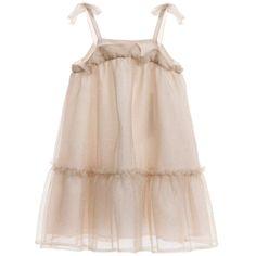 Lili Gaufrette Gold Metallic Tulle Dress at Childrensalon.com
