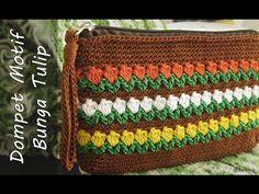 Crochet || Tutorial Dompet Rajut Motif Bunga Tulip - Flowers in Row Stitch - YouTube