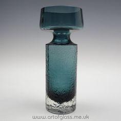 Riihimaki 'Safari' steel blue glass vase by Tamara Aladin