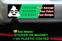 Custom Bumper Sticker Your Design or Personalisation 10 x 3 Magnetic Bumper or Standard Bumper Sticker - Custom changes and orders welcomed! by CREEKTEE Bumper Sticker Size, Bumper Stickers, Plastic Coating, Plastic Film, Your Design, Create Yourself, Magnets, How To Remove, Messages