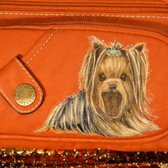 leather purse with yorkie handpainting