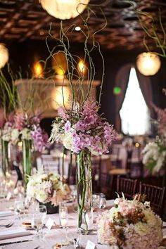 Gorgeous curly willow centerpieces