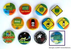 Cacher Xing & More Geocaching Badge Set (12 Pins, 12 Designs) from Island buttons.